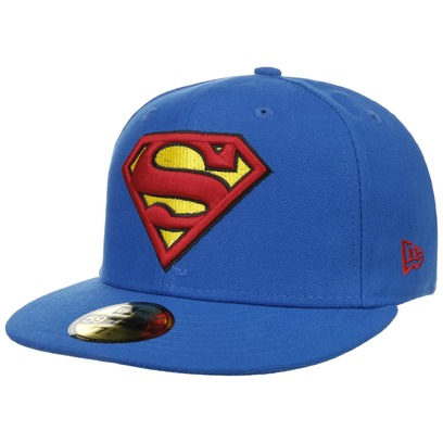 New Era 59Fifty Blue Superman Cap Flatbrim Flat Brim Basecap Comic Baseballcap Kappe