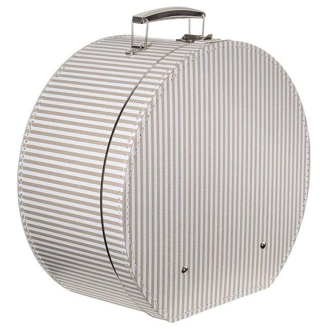 Hutbox Hutschachtel Hutkoffer Beige-Streifen - - beige