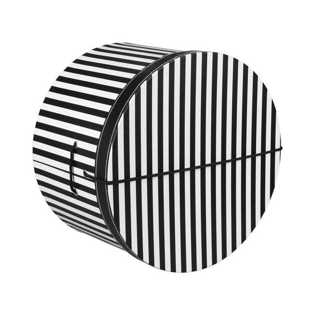 Hutschachtel Hutbox Streifen 34 cm - - schwarz-wei
