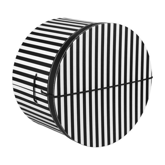 Hutschachtel Hutbox Streifen 38 cm - - schwarz-wei