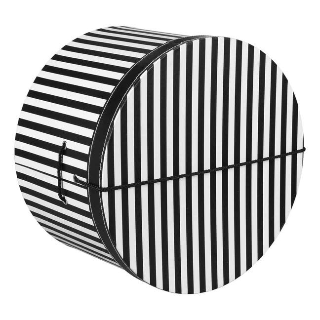 Hutschachtel Hutbox Streifen 42 cm - - schwarz-wei