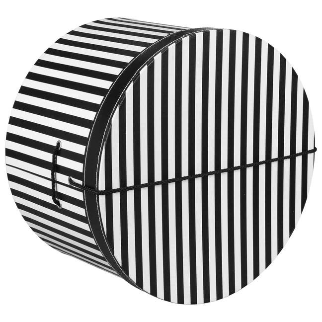 Hutschachtel Hutbox Streifen 44 cm - - schwarz-wei