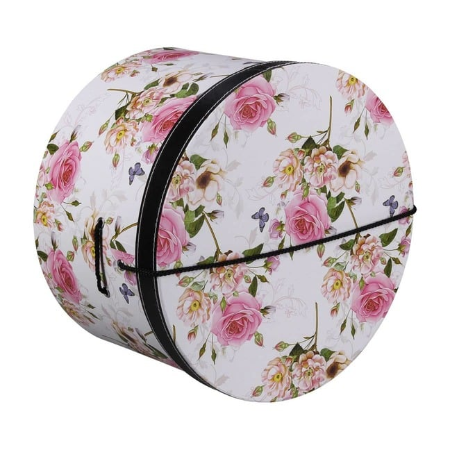 Hutschachtel Hutbox Pink Flowers 38 cm - - wei