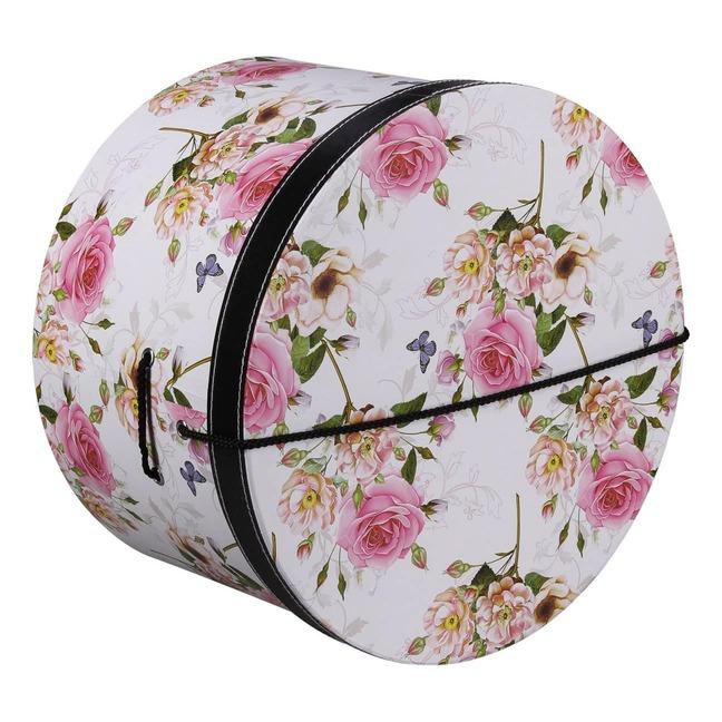 Hutschachtel Hutbox Pink Flowers 42 cm - - wei