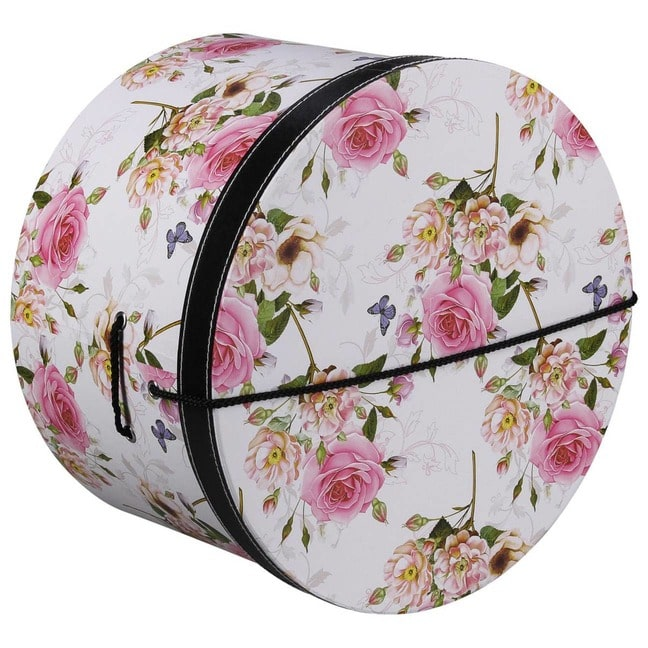 Hutschachtel Hutbox Pink Flowers 44 cm - - wei