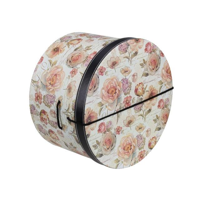 Hutschachtel Hutbox Rosen 31 cm - - beige