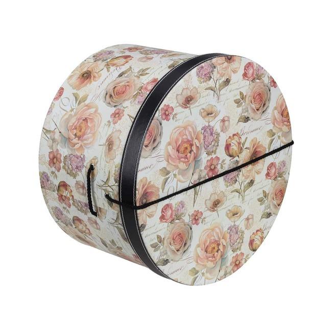 Hutschachtel Hutbox Rosen 34 cm - - beige