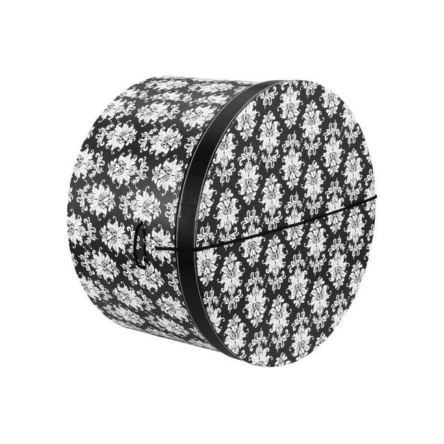 Hutschachtel Hutbox Ornamente 31 cm - - schwarz-wei
