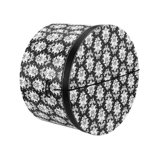 Hutschachtel Hutbox Ornamente 34 cm - - schwarz-wei