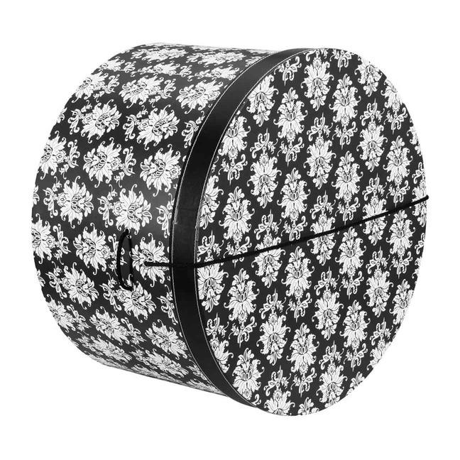 Hutschachtel Hutbox Ornamente 42 cm - - schwarz-wei
