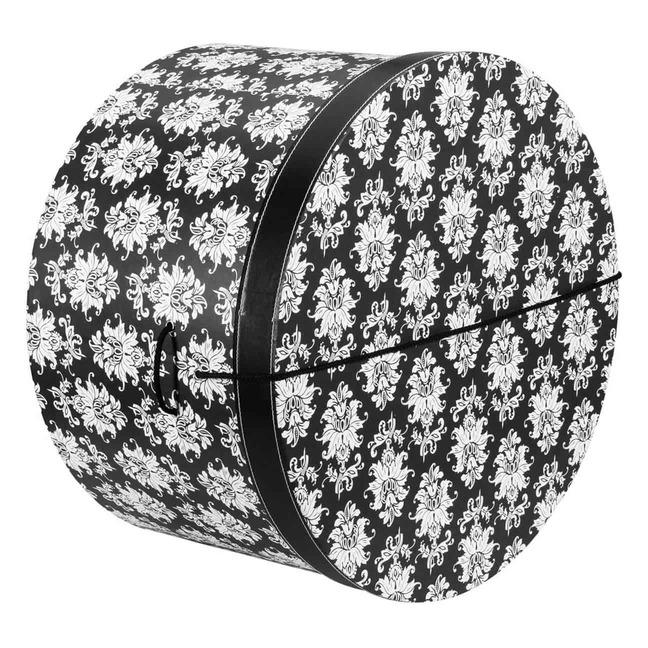 Hutschachtel Hutbox Ornamente 44 cm - - schwarz-wei