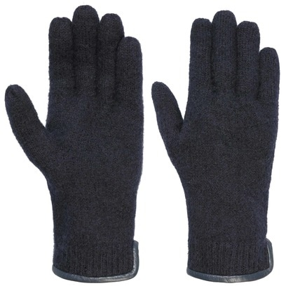 Woolmark Walkhandschuhe mit Lederpaspel Damenhandschuhe Fingerhandschuhe Wollhandschuhe - Bild 1