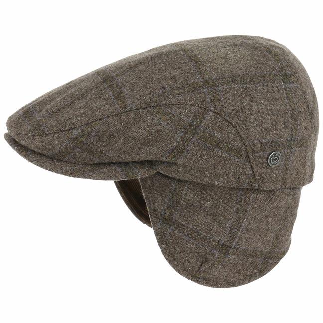Check Flatcap mit Ohrenklappen Schirmmütze Schiebermütze Wollcap Cap Mütze Kappe bugatti