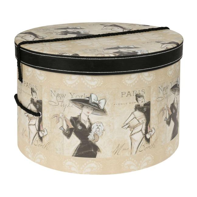 Hutschachtel Hutbox Hutkoffer Madame 34 cm - - beige