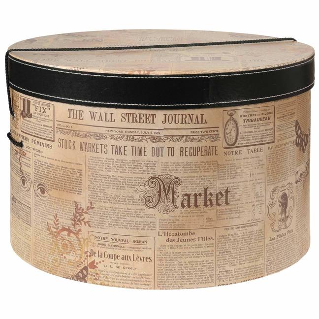 Hutkoffer Newspaper 44 cm Hutschachtel Hutbox Aufbewahrung f