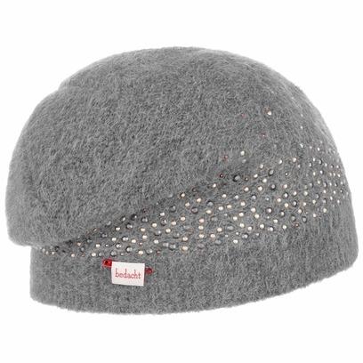 bedacht Cinzia Mohair Beanie Strickmütze Wintermütze Wollmütze Damenmütze mit Steinchen Mütze