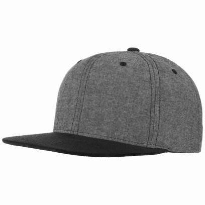 Chambray Suede Snapback Cap Flatbrim Flat Brim Basecap Baseballcap Kappe - Bild 1