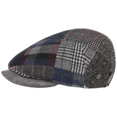 Lierys Patchwork Flatcap mit Lederschirm Schirmmütze Schiebermütze Cap Mütze Kappe Wollcap