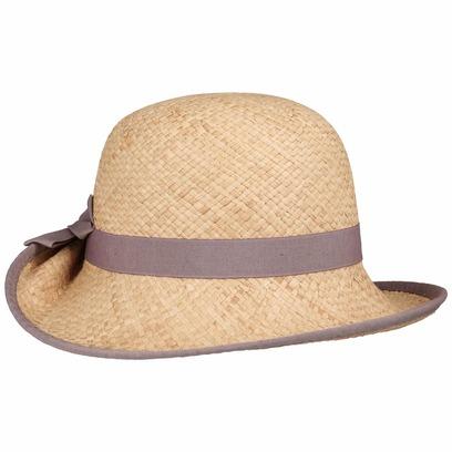 bedacht Fanamia Raffia Aufschlaghut Strohhut Hut Damenhut Sommerhut Sonnenhut mit Einfass