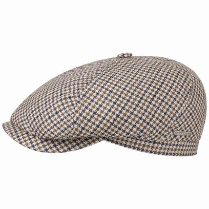Stetson 6-Panel Houndstooth Flatcap Schirmmütze Leinenmütze Baumwollcap Cap Kappe Mütze - Bild 1