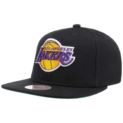 Mitchell & Ness Solid Team Lakers Cap Snapback Basecap Baseballcap Flat Brim Los Angeles NBA Kappe