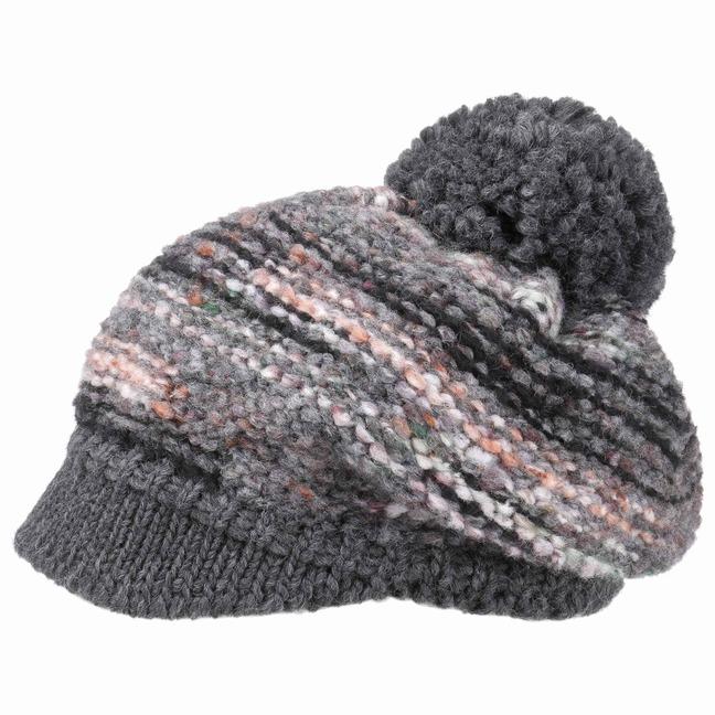 McBURN Limana Bommelmütze mit Schirm Wintermütze Damenmütze Mütze Bommel Strickmütze