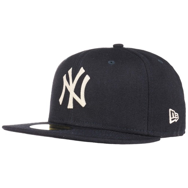 59Fifty Chain Stitch NY Cap Flat Brim Flatbrim Basecap MLB Baseballcap Fitted Kappe - 7 3/4 (61,5cm) - dunkelblau
