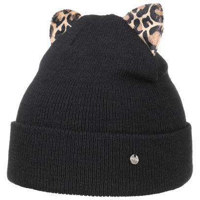 Umschlagmütze mit Katzenohren Leoprint Mütze Beanie Strickmütze Wintermütze Damenmütze