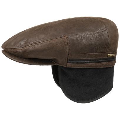 Stetson Kent Leder Flatcap Ohrenklappen Ledermütze Schirmmütze Mütze Schiebermütze Wintermütze - Bild 1