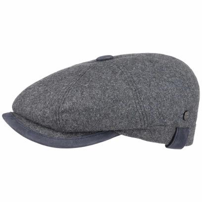 Lierys City Leather Piping Wool Flatcap Schirmmütze Wollcap Wintermütze Ballonmütze Newsboy Mütze - Bild 1