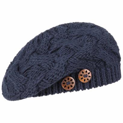Lierys Jil Strickbaske Strickmütze Baskenmütze Damenbaske mit Knöpfen Wintermütze Mütze