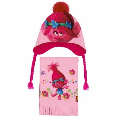 Trolls Mütze & Schal Kindermütze Wintermütze Kinderschal Beanie Mädchenmütze - Bild 1