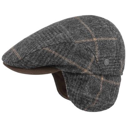 Bugatti Lars Flatcap mit Ohrenklappen Schirmmütze Wollcap Karocap Schiebermütze Karomuster