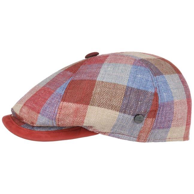 Lierys Oxford Bic Check Flatcap Schirmmütze Schiebermütze Leinencap Sommercap