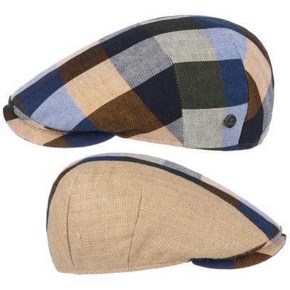 Lierys Capri Bic Leinen-Mix Check Flatcap Baumwollcap Schirmmütze Schiebermütze Sommercap Leinencap - Bild 1