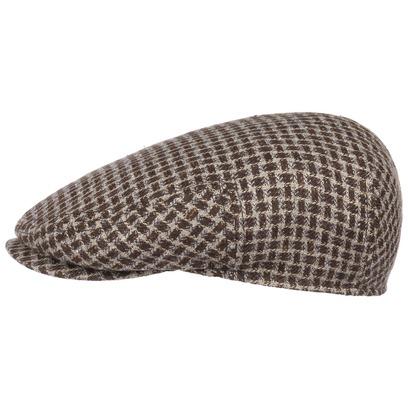 Stetson Houndstooth Leinencap Flatcap Schiebermütze Sommercap Schirmmütze - Bild 1
