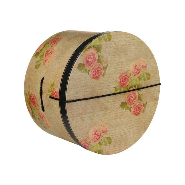 Hutschachtel Hutbox Hutkoffer Antique Roses 31 cm - - beige