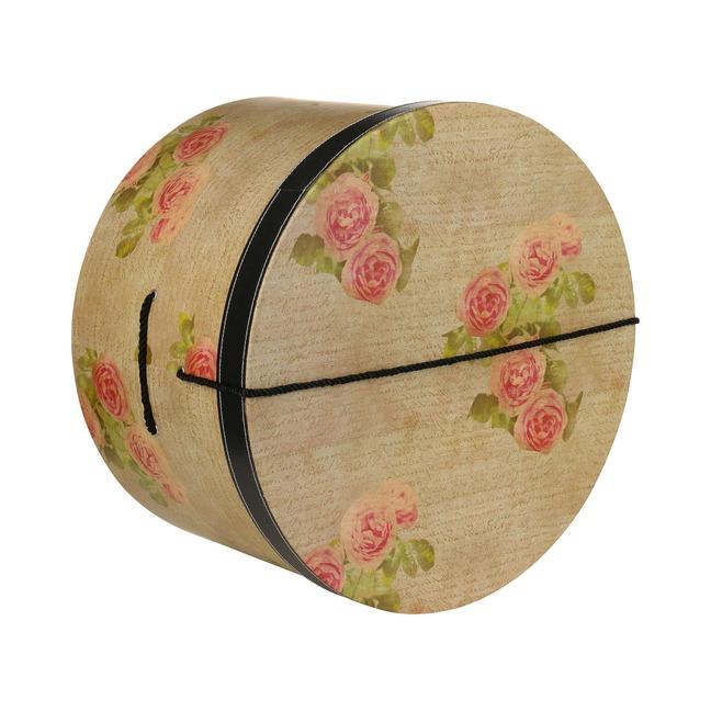 Hutschachtel Hutbox Hutkoffer Antique Roses 34 cm - - beige