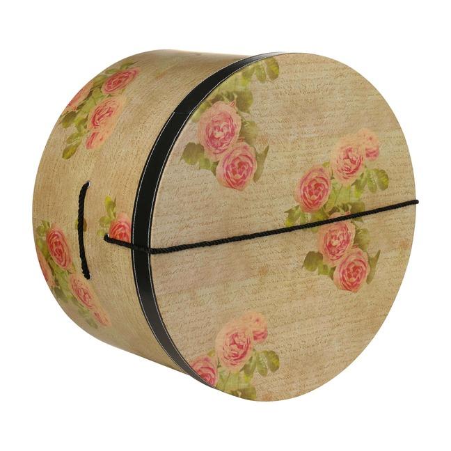Hutschachtel Hutbox Hutkoffer Antique Roses 38 cm - - beige