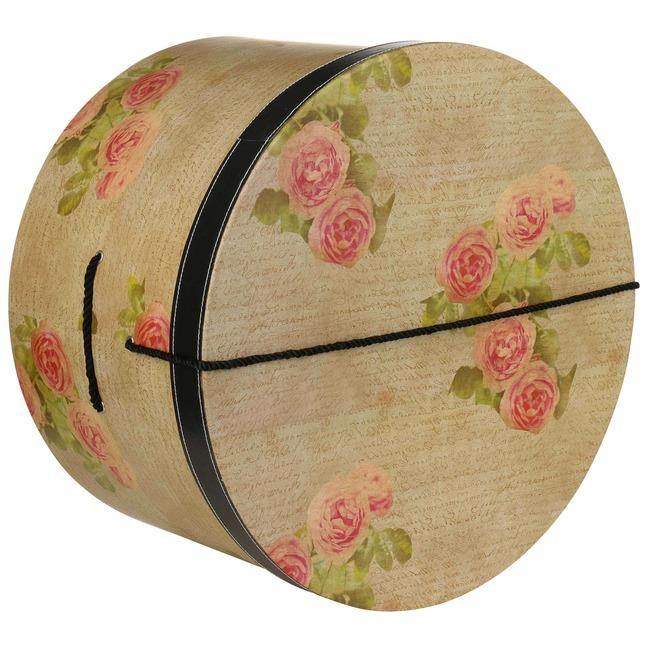 Hutschachtel Hutbox Hutkoffer Antique Roses 44 cm - - beige