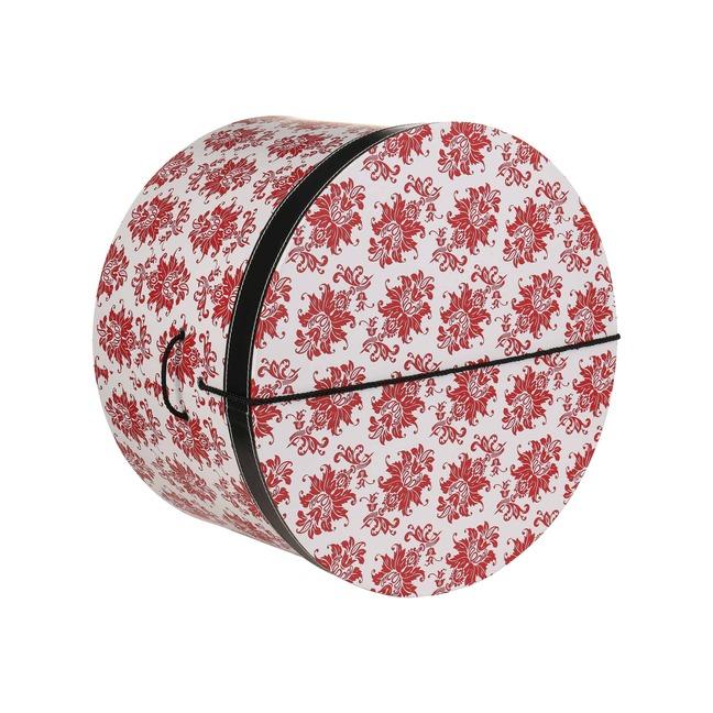 Hutbox Rote Ornamente 31 cm Hutschachtel Hutkoffer Aufbewahrung Hut H