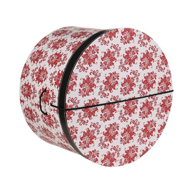 Hutbox Rote Ornamente 34 cm Hutschachtel Hutkoffer Aufbewahrung Hut H