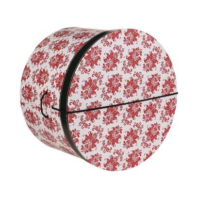 Lierys Hutbox Rote Ornamente 34 cm Hutschachtel Hutkoffer Aufbewahrung Hut Hüte