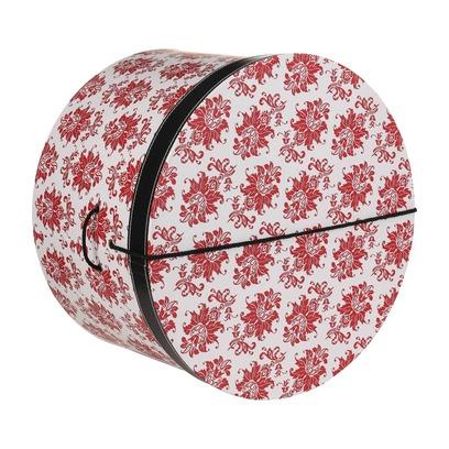 Lierys Hutbox Rote Ornamente 38 cm Hutschachtel Hutkoffer Aufbewahrung Hut Hüte