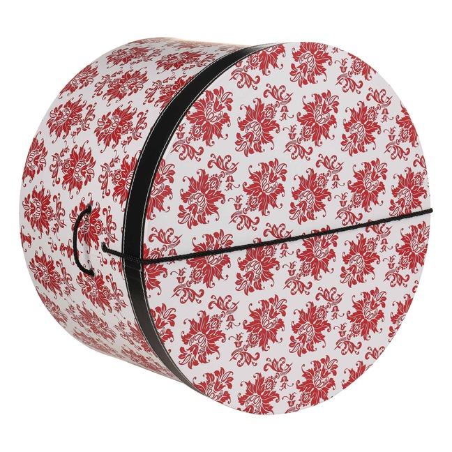 Hutbox Rote Ornamente 42 cm Hutschachtel Hutkoffer Aufbewahrung Hut H