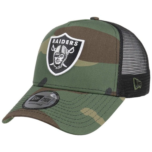 New Era Camo Team Raiders Trucker Cap Baseballc...