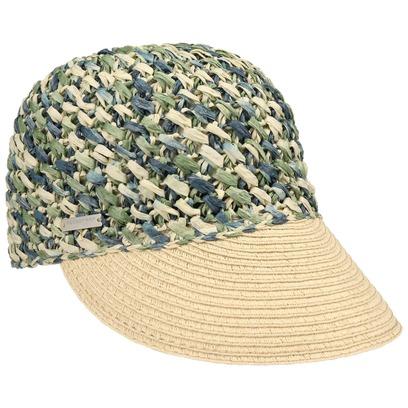 Seeberger Multicolour Crochet Damencap Strohcap Sonnenvisor Visor Strandcap