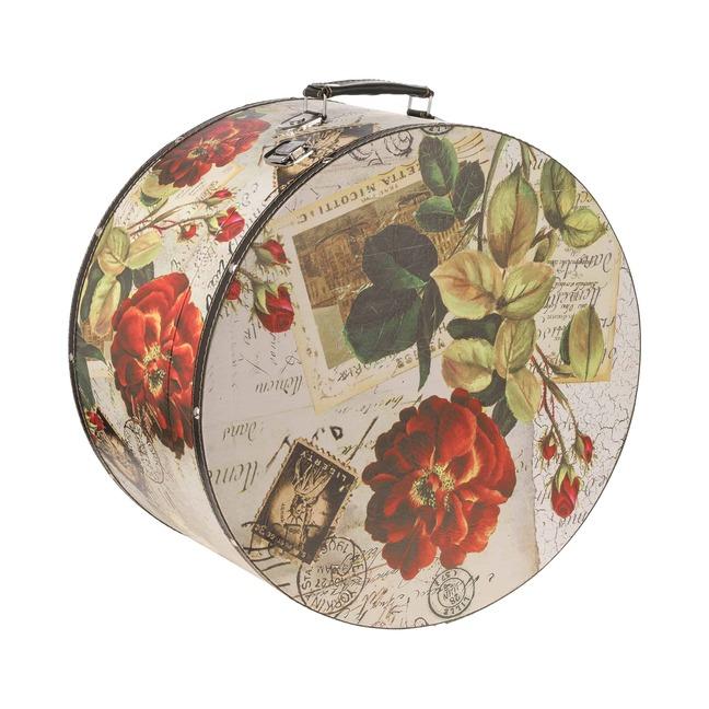 Hutkoffer Rose 31 cm Hutbox Hutschachtel Aufbewahrung Hutzubeh