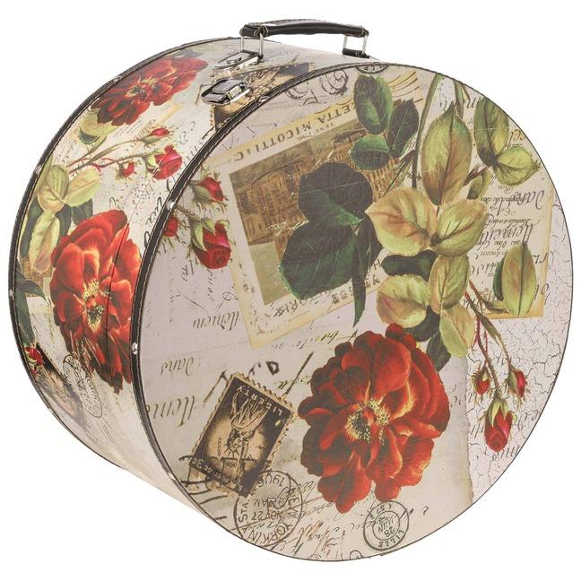 Hutkoffer Rose 41.5 cm Rose Hutschachtel Hutbox Aufbewahrung Hutzubeh