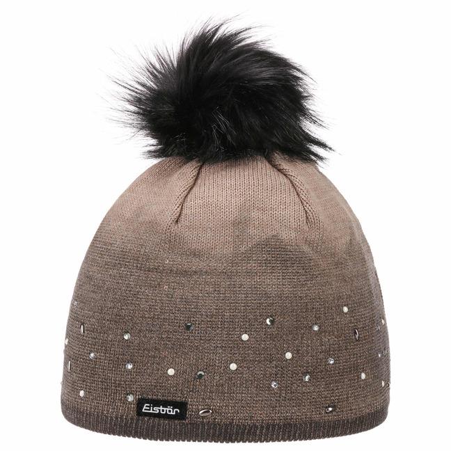 Eisbär Dip Dye Lux Crystal Mütze Pudelmütze Wintermütze Beanie Damenmütze Strickmütze